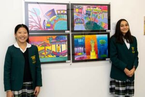 Bella Seeto and Finn Rooney Weimers from Brigidine College Randwick with their Clancy Prize artwork